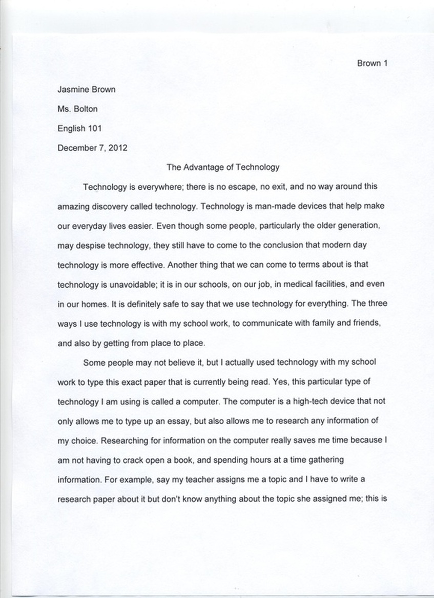 Sample Essay on Technology and Technology Essay